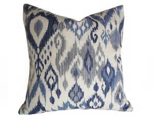 blue white ikat pillows coastal pillow covers 12x18 lumbar
