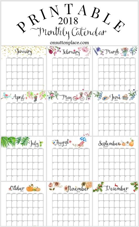2018 Printable Monthly Calendar 2018 Free Printable Monthly Calendar On Sutton Place