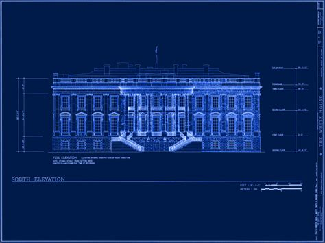 Blue Print Of House by White House Museum
