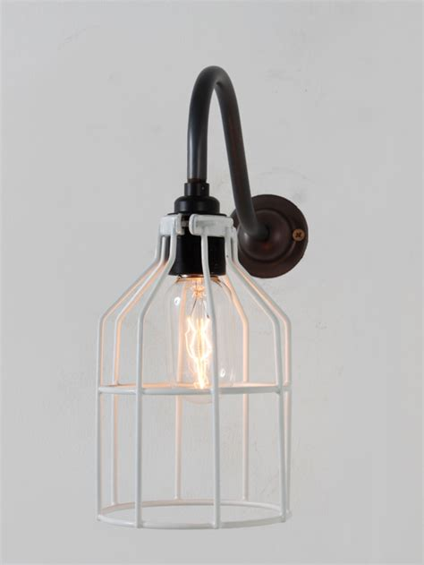 cage style wall light industrial style wall light finished with white sprayed