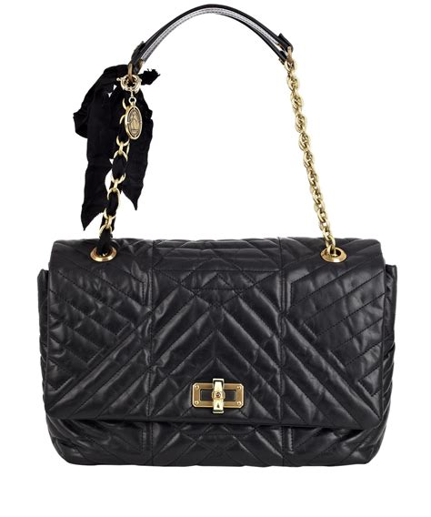 Erva Quilted Leather Bag by Lanvin Black Happy Large Quilted Leather Shoulder Bag In