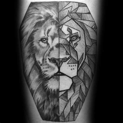 geometric animal tattoo lion 60 geometric animal tattoo designs for men cool ink ideas