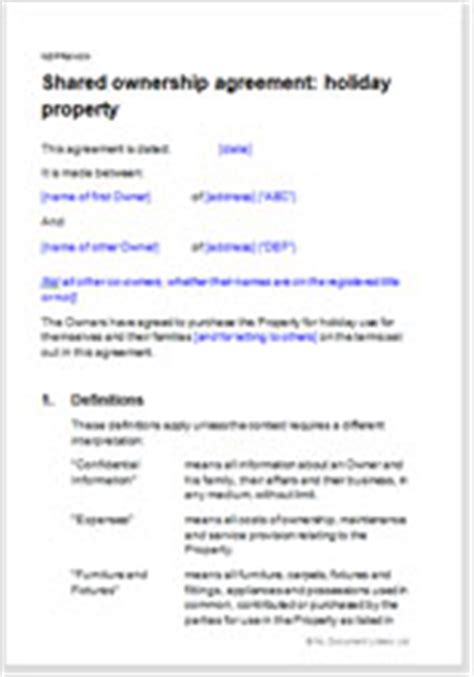 Joint Ownership Agreement For A Holiday Property Fractional Ownership Agreement Template