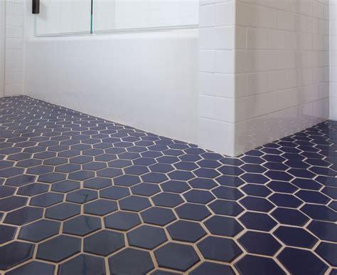 fireclay tile navy blue hex tile bathroom in 2018