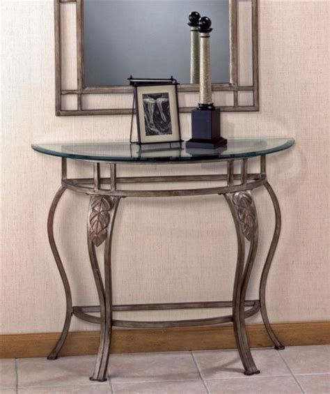 wrought iron console table wrought iron console table w demilune glass t