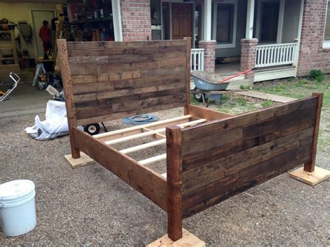 queen size pallet bed plans made pallet bed rustic style pallet furniture