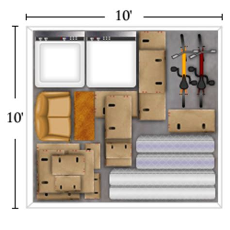 10 x 10 square feet unit sizes
