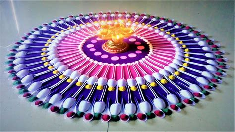Home Decoration On Diwali Diwali Special Rangoli Designs Using Spoon Diwali Rangoli
