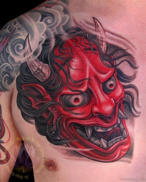 red hannya mask tattoo designs 63 classic mask tattoos on chest