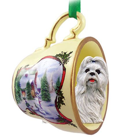 shih tzu dog christmas holiday teacup ornament figurine