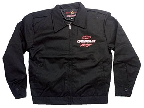 design jaket printing chevrolet racing jacket with screen printed logo by jh design