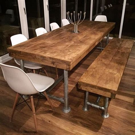 wooden bench for dining room table 25 best ideas about dining tables on pinterest farm