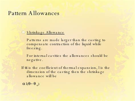 negative pattern allowances casting