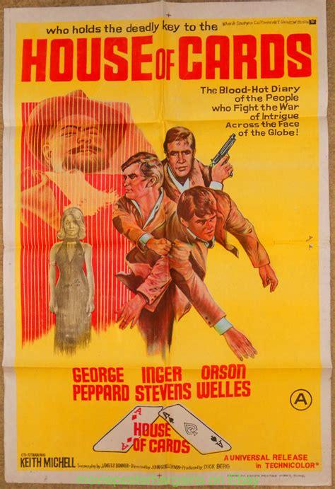 house of cards movie house of cards movie poster original folded 27x41 george peppard orson welles ebay