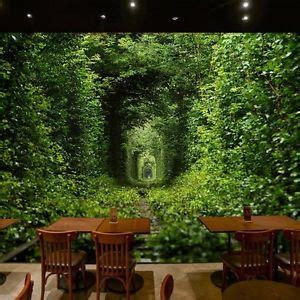 Restaurant Wall Murals 3d wallpaper mural green forest entry door wall paper