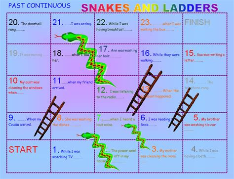 pattern past continuous tense past continuous snakes and ladders boardgame