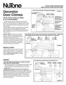 nutone decorator door chimes la 58 user manual 2 pages also for decorator door chimes la