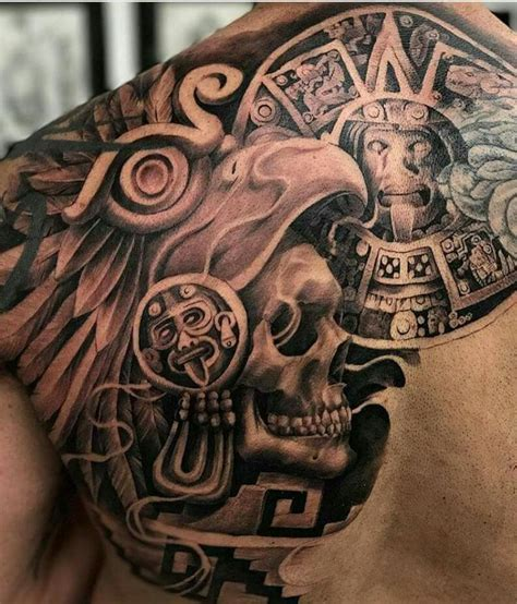 mexican tattoo design back brown by honor aztec