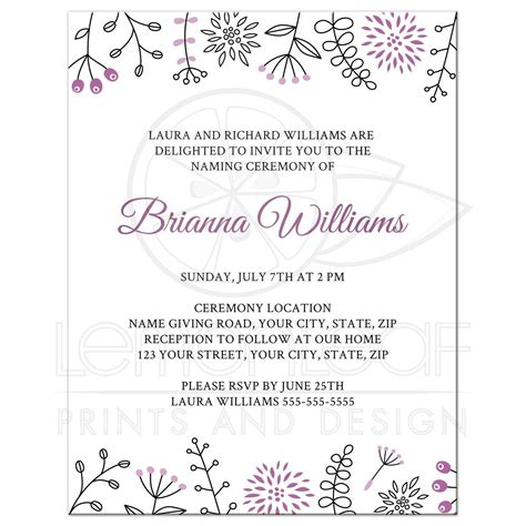 Invitation Letter Format For Baby Naming Ceremony Naming Name Giving Ceremony Invitation With And Modern Floral Borders