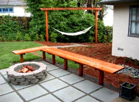 ideas for backyard landscaping outdoor concrete deck with stone fire pit for inexpensive