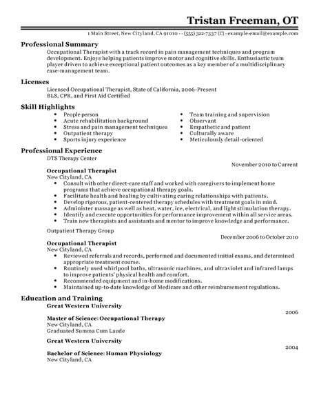 Best Occupational Therapist Resume Exle Livecareer Therapist Resume Template