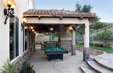 outdoor sound systems for patios this outdoor living area brings the rec room to the backyard with a pool table television and