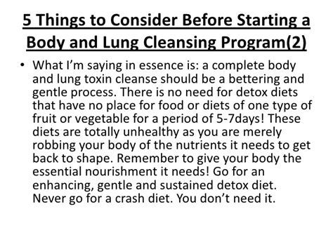 Should You Detox Before A Diet by Cleanse Your And Lungs From Toxins