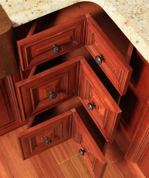 lazy susan pull out drawers three drawer corner base cabinet in place of a lazy susan