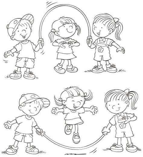 dibujos niños jugando para imprimir juegos infantiles para colorear online cuerda imagenes