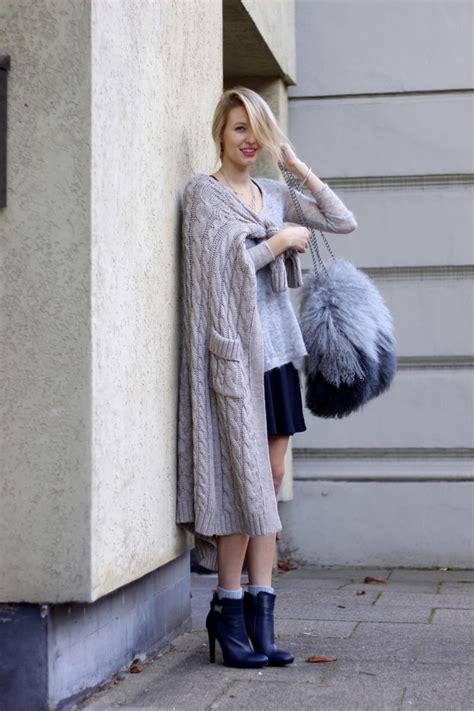minimal look in grey knit symphony of silk leonie hanne zara dress zara long cardigan poilei