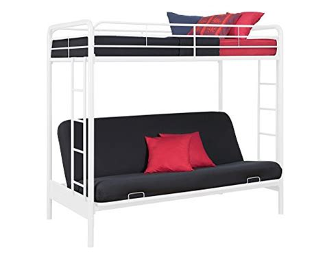 metal bunk bed futon combo dhp twin over futon metal bunk bed white new ebay