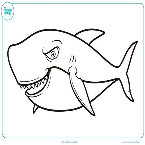 imagenes para colorear tiburon dibujos animados de tiburones para colorear