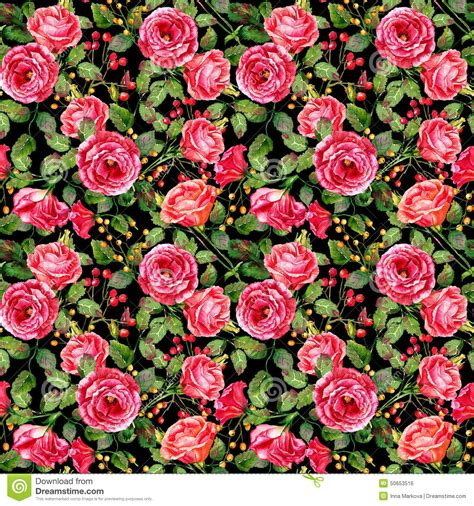 seamless pattern of watercolor red roses on black