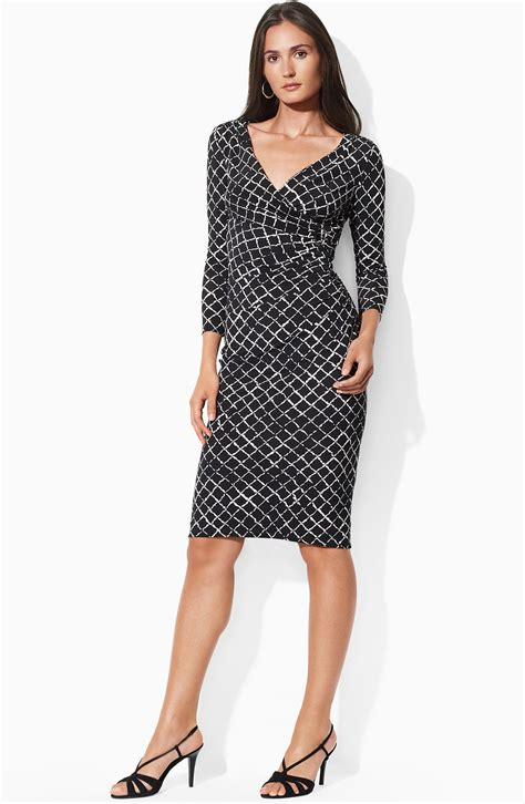 pattern jersey wrap dress lauren by ralph lauren print faux wrap jersey dress in