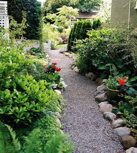 Backyard Path by Garden Path Ideas Gravel Walkways Gardens River Rocks