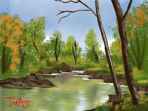 bob ross painting rivers bob ross lazy river by crookedhookart on deviantart