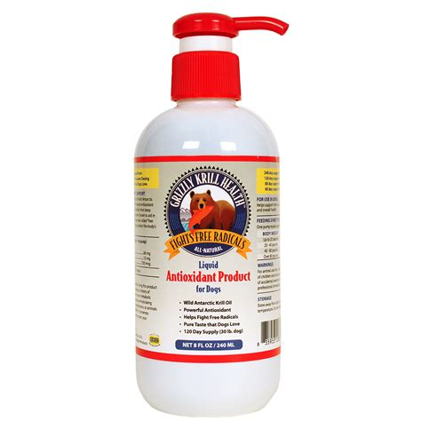 krill for dogs grizzly krill health liquid antioxidant for dogs 8 oz