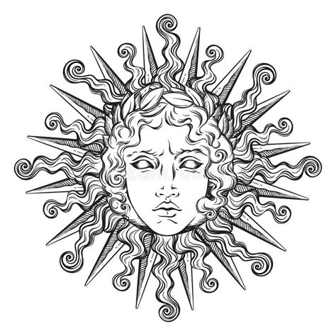 tattoo flash god hand drawn antique style sun with face of the greek and
