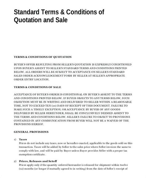 standard terms and conditions of sale template free invoice terms and conditions exle contract price see