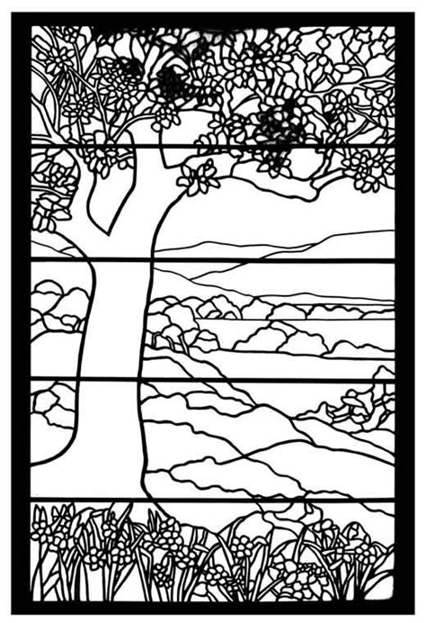 Welcome To Dover Publications Paper Pinterest Dovers Tree Stained Glass Coloring Page