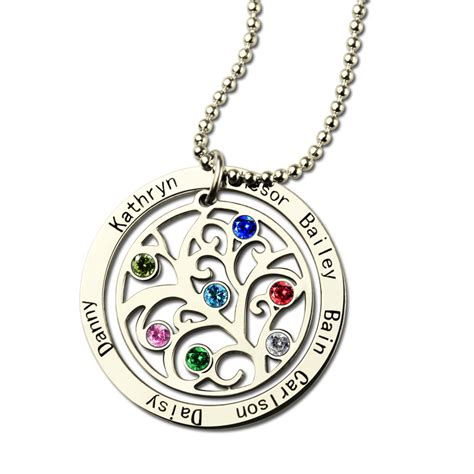personalized family tree birthstone name necklace