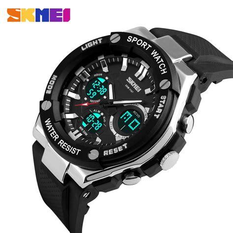 Jam Tangan Skmei Fashion Pria Kulit Water Resistant 3 Atm skmei jam tangan analog pria ad1187 black white jakartanotebook
