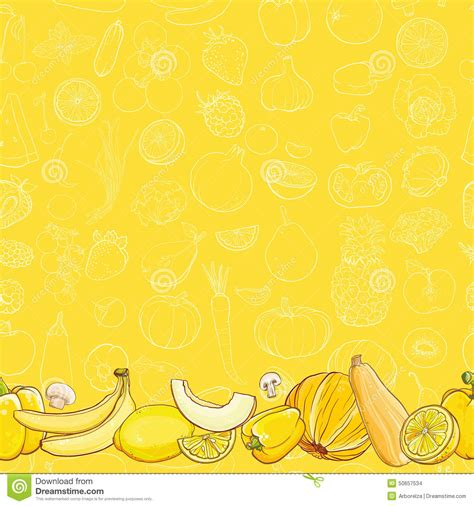 yellow pattern background vector set of yellow fruits and vegetables on light yellow