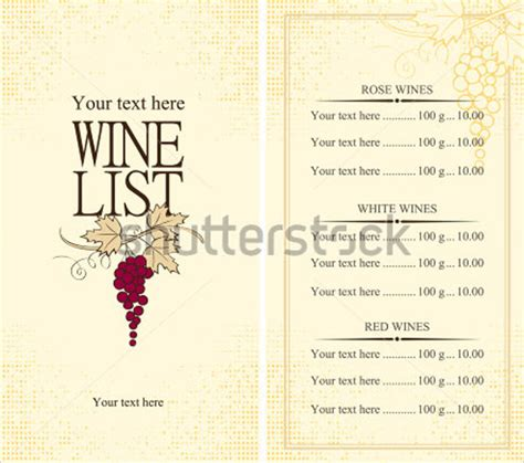wine menu template 12 download documents in vector eps