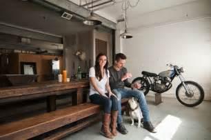 Red enamel ie in pipe on industrial interior design motorcycle garage