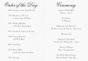 Shortened order of service on 2 pages with program and ceremony