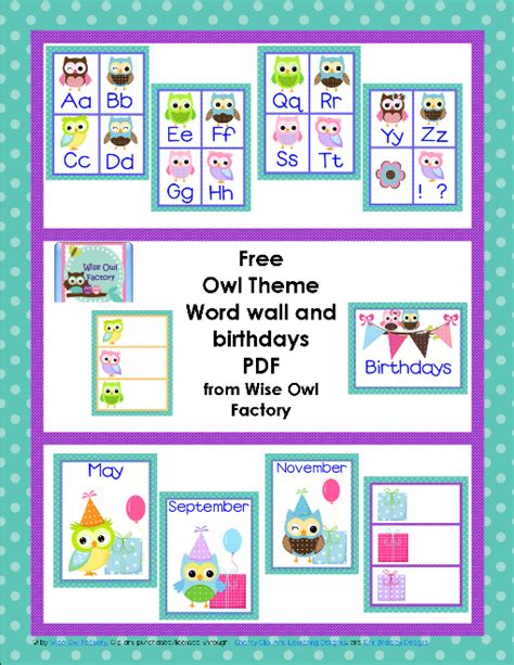 owl printables for classroom 7 best images of for classroom birthday printables