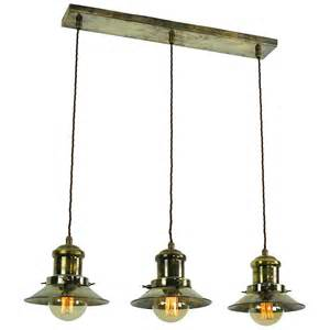Antique Island Lighting Hanging Kitchen Island Light With 3 Nautical Style Antique Brass Shades