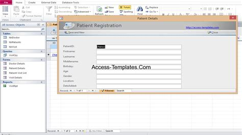 microsoft access hospital database templates