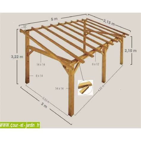 carport holz 3x4 auvent terrasse sherwood carport bois de 5mx3 garage